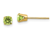 14K Yellow Gold 4mm August Green Peridot Stud Earrings