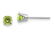 14K White Gold 4mm August Green Peridot Stud Earrings
