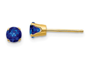 14K Yellow Gold 4mm September Blue Sapphire Stud Earrings
