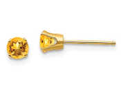 14K Yellow Gold 4mm November Yellow Citrine Stud Earrings