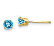 14K Yellow Gold 4mm December Blue Topaz Stud Earrings