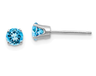 14K White Gold 4mm December Blue Topaz Stud Earrings