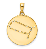 Sterling Silver Gold Plated & CZ Gemini Zodiac Necklace