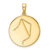 Sterling Silver Gold Plated & CZ Libra Zodiac Necklace