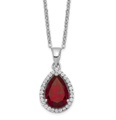 Sterling Silver Polished January Red Garnet & CZ Necklace