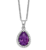 Sterling Silver Polished February Purple Amethyst & CZ Necklace