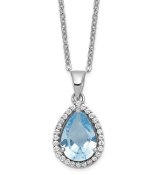 Sterling Silver Polished March Blue Aquamarine & CZ Necklace