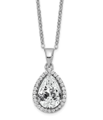 Sterling Silver Polished April White Topaz & CZ Necklace