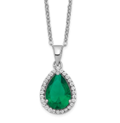 Sterling Silver Polished May Emerald & CZ Necklace