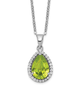 Sterling Silver Polished August Peridot & CZ Necklace