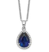 Sterling Silver Polished September Blue Sapphire & CZ Necklace