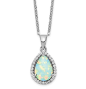 Sterling Silver Polished October Opal & CZ Necklace