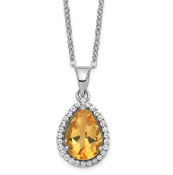 Sterling Silver Polished November Yellow Citrine & CZ Necklace