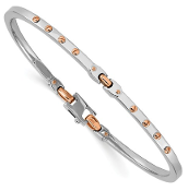 14K Rose Gold & White Gold Polished Bangle Bracelet