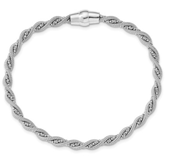 Sterling Silver Textured Braided Magnetic Clasp Bracelet