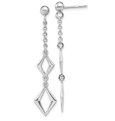 Sterling Silver Geometric Diamond Shaped Drop Earrings