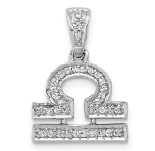 14K White Gold Diamond Zodiac Libra Pendant