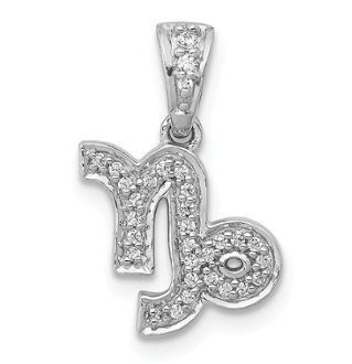 14K White Gold Diamond Zodiac Capricorn Pendant