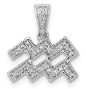 14K White Gold Diamond Zodiac Aquarius Pendant