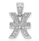 14K White Gold Diamond Zodiac Pisces Pendant