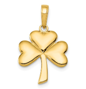 14K Yellow Gold Solid Shamrock Four Leaf Clover Pendant