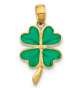 14K Yellow Gold Enameled Shamrock Four Leaf Clover Pendant