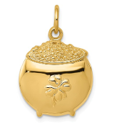 14K Yellow Gold Pot Of Gold Shamrock Pendant