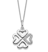 Sterling Silver CZ Shamrock Four Leaf Clover Pendant Necklace