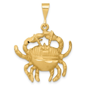 14K Yellow Gold Zodiac Cancer Crab Pendant
