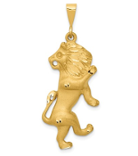 14K Yellow Gold Zodiac Leo Lion Pendant