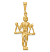 14K Yellow Gold Zodiac Libra Scale Pendant