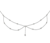 Sterling Silver Draped Cubic Zirconia Choker Necklace