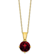 10K Yellow Gold Diamond & Garnet January Necklace
