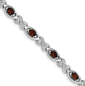 Sterling Silver Diamond & Garnet January Bracelet