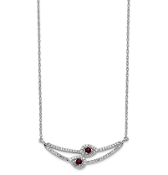 14K White Gold Diamond & Garnet January Necklace