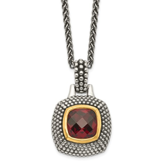 Sterling Silver Gold Plated Cushion Cut Garnet January Necklace