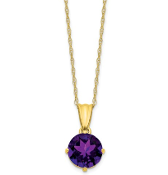 10K Yellow Gold Diamond & Amethyst February Necklace