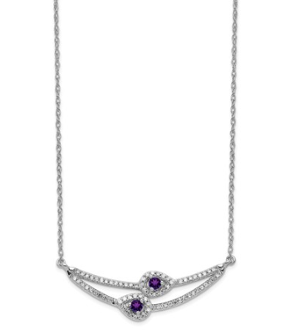 14K White Gold Diamond & Amethyst February Necklace