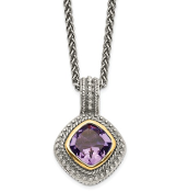 Sterling Silver &14K Gold Cushion Cut Amethyst February Necklace