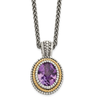 Sterling Silver & 14K Gold Oval Amethyst February Necklace