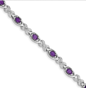 Sterling Silver Diamond & Amethyst February Bracelet