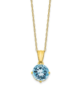 10K Yellow Gold Diamond & Aquamarine March Necklace