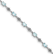 Sterling Silver Diamond & Aquamarine March Bracelet