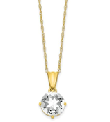 10K Yellow Gold Diamond & White Sapphire April Necklace