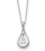 Sterling Silver Cubic Zirconia April Teardrop Necklace
