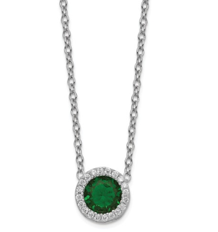 Sterling Silver Cubic Zirconia Emerald Glass May Necklace