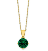 10K Yellow Gold Diamond & Emerald May Necklace