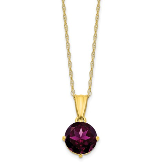 10K Yellow Gold Diamond & Rhodolite Garnet June Necklace