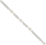 Sterling Silver Polished 3 Swarovski Pearl June Bracelet