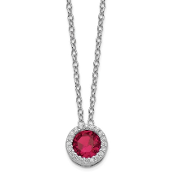 Sterling Silver Cubic Zirconia Ruby July Necklace
